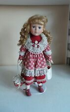 Rare Collectable Leonardo Karin Porcelain Soft Body Doll On Stand W Red Dress