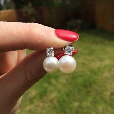 FRESHWATER PEARL AND CZ STUD WEDDING EARRINGS CLASSIC 925 SILVER bridal JEWELRY