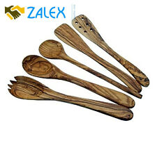 Kitchen Vintage Olive Wood Utensils Set 5 Piece Spatulas Spoons Handle Utensil