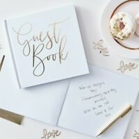 Ginger Ray White & Gold Foiled Wedding Guest Book GO-134
