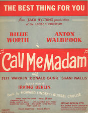 BEST THING FOR YOU Music Sheet-1950-IRVING BERLIN-CALL ME MADAM-British Edition