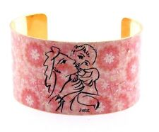 """1.5"""" Wide Picasso Mother & Child Cuff Metal Bangle, Pink Floral Background, 7-8"""""""