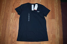 NWT Womens UNDER ARMOUR Short Sleeve Loose Fit Tee Shirt Black V-Neck S Small