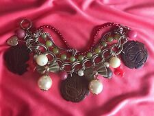 Betsey Johnson Vintage HUGE Wood Rose Carved Pearl Coral Beaded Chain Bracelet