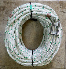 """7/16"""" x 115ft. White/Green Dac/Polyester Halyard, Spliced in S/S Hdboard Shackle"""