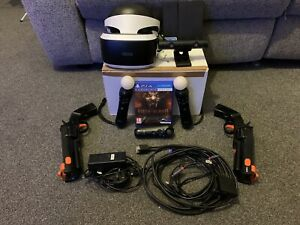 Sony PlayStation 4 (PS 4) VR Headset (V1), 2x Move Controllers, Camera, Game Gun