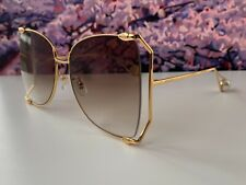 🔥 Gucci Gg0252S Gold Frame Brown Lens Women's Oversize Sunglasses Butterfly