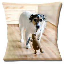 Jack Russell Dog Cushion Cover 16x16 inch 40cm Cute Dog With Stuffed Rabbit Toy