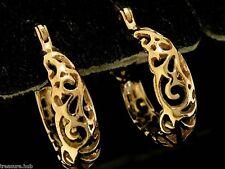 E022 NICE Genuine 9ct SOLID ROSE Gold Filigree Hoop Earrings Genuine Real Gold