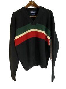 Vintage Polo Ralph Lauren Cotton Redline Gucci Color Stripe Sweater 1992