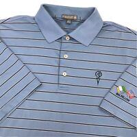Peter Millar Summer Comfort Polo Shirt Men's Large Quail Valley Golf Club