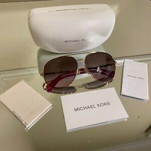 NEW Michael Kors Women's Rodinara Aviator Rose Gold Sunglasses with Case MK5009