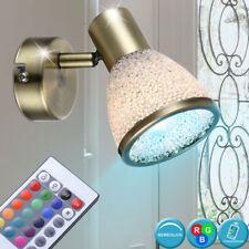 LED Wand Lampe Alt Messing RGB Dimmer Fernbedienung Leuchte Spot verstellbar