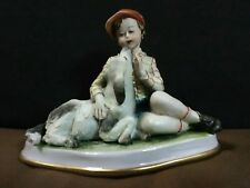 "Lovely Vtg.N. Capodimonte Italy Fine Porcelain""Boy with his Dog"" Figurine,Signed"