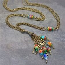 "NEW SWEET ROMANCE MILLEFIORI GLASS 32"" CHAIN TASSEL NECKLACE ~~MADE IN USA~~"