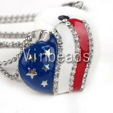New 4th of July US Flag Rhinestone Crystal Charm Heart Pendant Necklace Jewelry