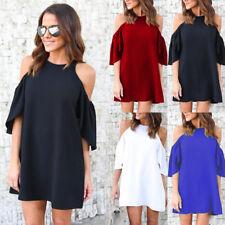 UK 6-20 Womens Loose Jumper Chiffon Cold Shoulder Strappy Casual Mini Dress