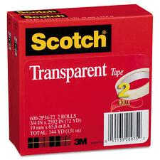 "Scotch Transparent Tape 600 2P34 72 3/4"" x 2592"" 3"" Core Transparent 2/Pack"