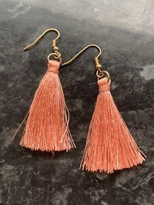 New pale pink tassel gold dangle earrings