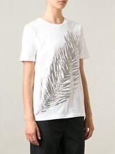 NWT TORY BURCH  glitter leaf T-shirt, White, Large $150
