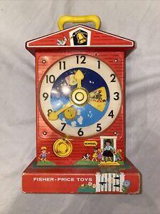 VINTAGE 1968 FISHER PRICE#998 MUSIC BOX TEACHING CLOCK PLAY N LEARN Very Nice