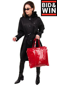 RRP €1300 BALENCIAGA Patent Leather Tote Bag Large Zip Closure Made in Italy