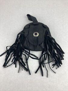 Vintage Leather Belt Bag Motorcycle Hip Purse Black Fringe Zipper Closure