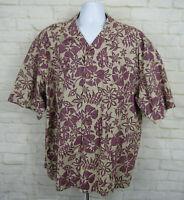 OP Sport Ocean Pacific Men's Short Sleeve Shirt Hawaiian Island Size 2XL Red