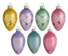 """10 EASTER TREE EGG ORNAMENTS unbreakable plastic 2.5"""" plain & glitter trim"""