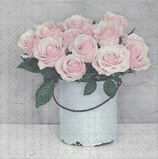3 Serviettes papier Cocktail Seau de Roses Paper Napkins Bucket with Roses Sagen