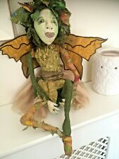 More details for green lady fairy handmade ,ooak, artist,  cloth /rag doll.. by dolly dumpling