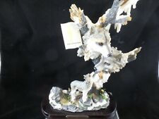 """Wolves Resin Figurine on Wood Base from Montefiori Collection 11""""  BEAUTIFUL!!"""