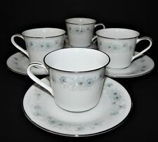 2 Noritake Inverness 6716 Cups and Saucers Silver Rim Blue Flower Pattern