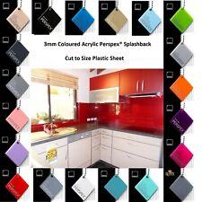 Kitchen Plastic Upstand Perspex® Splashback 3mm x 2400mm x 500mm 100+ Colours