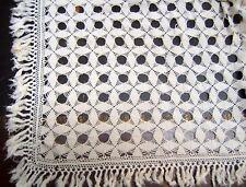 NAPPE AVEC FRANGES CROCHET COTON LINGE ANCIEN 125/108 cm