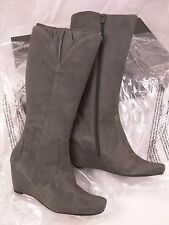 Womens New Kenneth Cole OH REALLY KS Steel Knee High Wedge Suede Boots 10M NIB