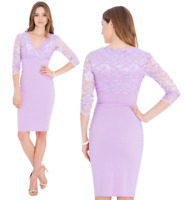 Goddess Lilac Scalloped Cross Lace Bengaline Fitted Cocktail Party Evening Dress
