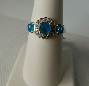 Size 9 Genuine Neon Blue Apatite & White Zircon 925 Sterling Silver Ring 1.50cts