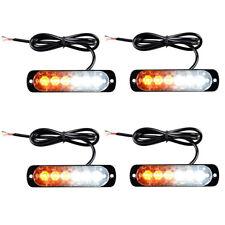 4Pack 6-LED Light Flash Urgency Car Auto Warning Strobe Flashing Yellow White