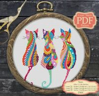 Mandala Three Cats - Cross stitch PDF Pattern - Zentangle animals - 004