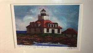 L.A. MEYER Original Print Painting Clair de Loon Bar Harbor Maine Egg Rock Light