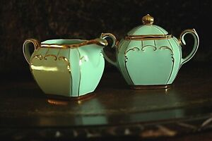 Vintage Sadler Light Green Sugar bowl and Cream Jug Set