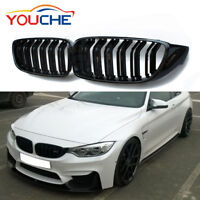 Piano Black Front Hood Kidney Grill for BMW 4 Series F32 F33 F36 F82 M4 420i 13+