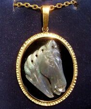 ON SALE was $429 Australian Opal Horse Head Cameo Pendant and chain (1418)