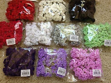 "Wholesale LOT 144 Satin 1/2"" RIBBON ROSES Wire Stem Pick Colors Wedding Crafts"