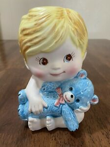 Vintage Nancy Pew Naked Baby Boy with Blue Teddy Bear Planter/Vase EUC