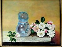 "M JANE DOYLE SIGN.ORIG.ART OIL/CANV PAINTING""LES ROSES""(AFTER FANTIN-LATOUR)FR."