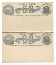 Costa Rica Postal Stationery Paid Reply Postal Card 4c 1880s Unused Unsevered