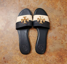New! Tory Burch 'Everly' Slide Sandals Blue Ivory Leather Womens 8 M MSRP $228