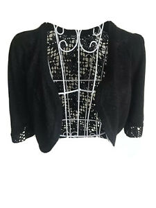 M&Co Womens Bolero Cardigan Size S (10-12) Black Glitter Sparkly Crochet Back